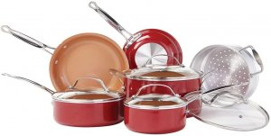 BulbHead Red Copper w/ Copper-Infused Ceramic Cookware Set, 10 Piece