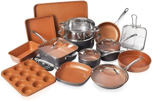Gotham Steel Cookware with Nonstick Durable Ceramic Copper Coating, 20 Piece