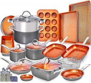 Home Hero Copper Pots and Pans Set, 23 Piece