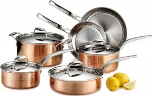 Lagostina Martellata Hammered Copper 18/10 Tri-Ply Stainless Steel Cookware Set, 10 Piece