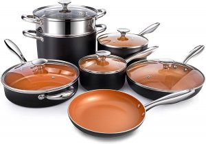 Michelangelo Essential Copper Cookware Set, 12 Piece